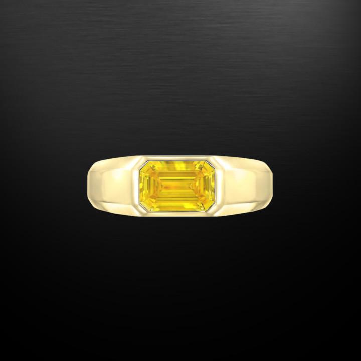 Yellow Diamond Ring Emerald Cut Unisex GIA Certified 1.04 Fancy Vivid Yellow