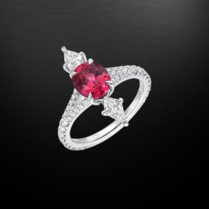 Pink Spinel Diamond Platinum Ring