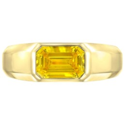Yellow Diamond Ring Emerald Cut Unisex GIA Certified 1.04 Fancy Vivid Yellow