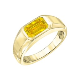 Yellow Diamond Ring Emerald Cut Unisex GIA Certified 1.04 Fancy Vivid Yellow1