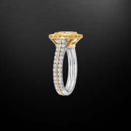 Fancy Light Yellow Diamond Cushion Cut Ring 2.40 Carat